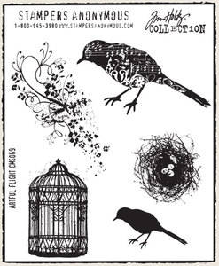 Tim Holtz Cling Rubber Stamps ARTFUL FLIGHT Bird Cage Stampers Anonymous CMS069