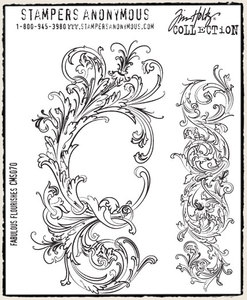 Tim Holtz Cling Rubber Stamps FABULOUS FLOURISHES Stampers Anonymous CMS070