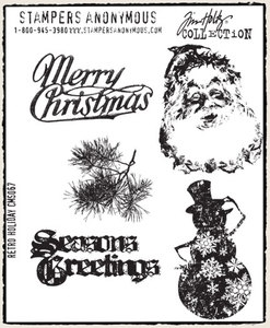 Tim Holtz Cling Rubber Stamps RETRO HOLIDAY Christmas Stampers Anonymous cms067