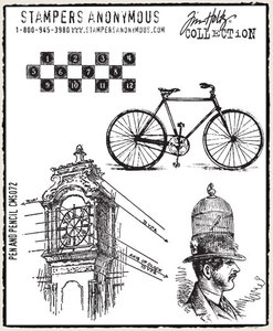 Tim Holtz Cling Rubber Stamps PEN AND PENCIL Stampers Anonymous CMS072 Preview Image