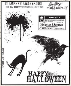 Tim Holtz Cling Rubber Stamps SPOOKY STUFF Halloween Stampers Anonymous