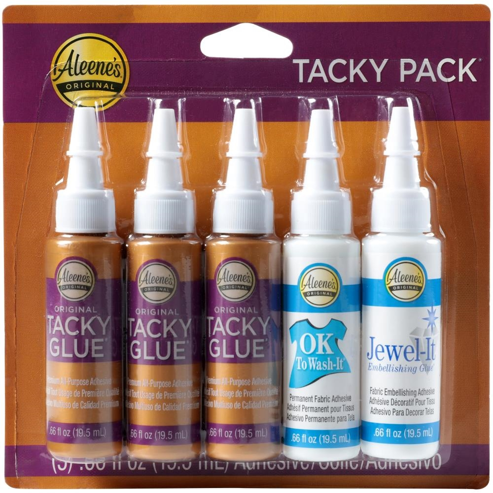 Aleene's 5 TACKY PACK Glue Adhesives Try Me Sizes Original Ok to Wash & Jewel-it zoom image