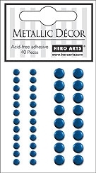 Hero Arts 40 Assorted BLUE METALLIC Decor Embellishments ch190 Self Adhesive