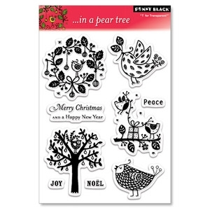 Penny Black Clear Stamps IN A PEAR TREE Bird Christmas