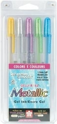 Sakura Gelly Roll 5 Pens METALLIC Ice Cream Gel Ink 57373*