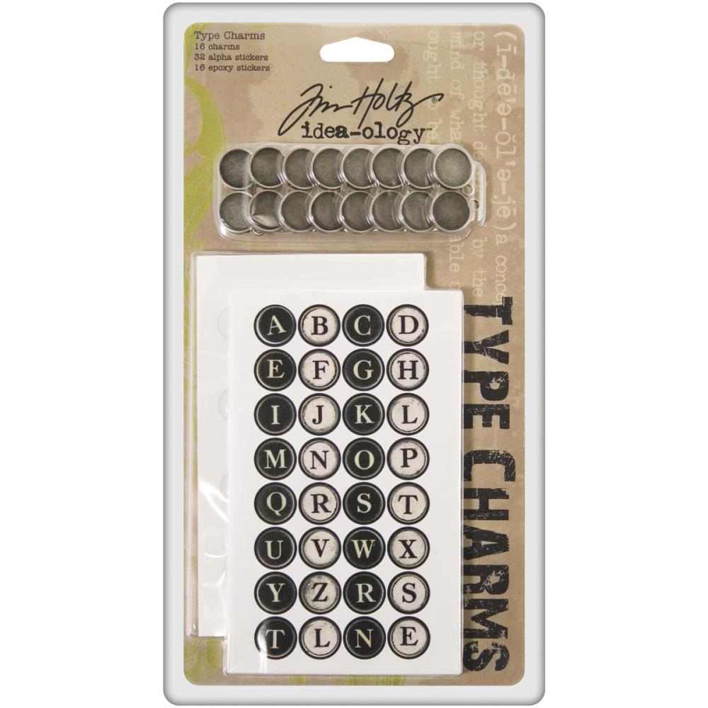 Tim Holtz Idea-ology TYPE CHARMS Keys Alphabet Typewriter Letter  TH92819 zoom image