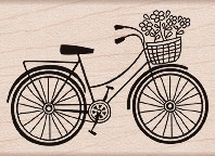 Hero Arts Rubber Stamp BICYCLE F5293 Bike Basket Flowers