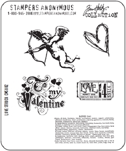 Tim Holtz Cling Rubber Stamps LOVE STRUCK Valentine Stampers Anonymous