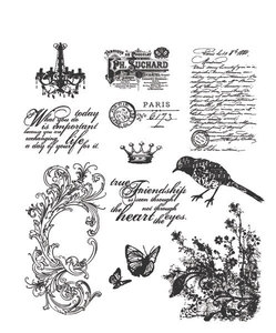 Tim Holtz Cling Rubber Stamps SHABBY FRENCH Stampers Anonymous CMS087 Preview Image
