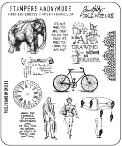 Tim Holtz Cling Rubber Stamps PURELY RANDOM Stampers Anonymous CMS088