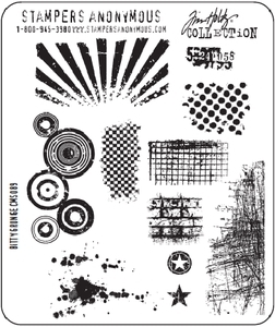 Tim Holtz Cling Rubber Stamps BITTY GRUNGE Stampers Anonymous CMS089