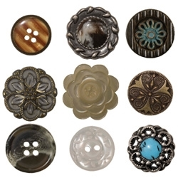 Tim Holtz Idea-ology CLASSICS Accoutrements Buttons Vintage Metal TH92837