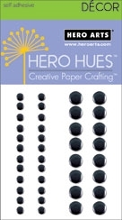 Hero Arts 40 Assorted BLACK METALLIC Decor Embellishments CH203 Self Adhesive
