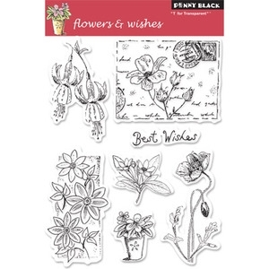 Penny Black Clear Stamps FLOWERS & WISHES 30-047