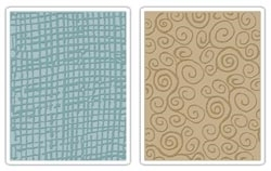 Tim Holtz Sizzix BURLAP & SWIRLS Texture Fades Embossing Folders 656645 Preview Image