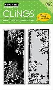 Hero Arts Cling Stamp TWO VINE SCROLLS Rubber Artists Proofs