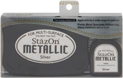 Tsukineko Stazon METALLIC SILVER Ink Pad and Refill SZ-000-192