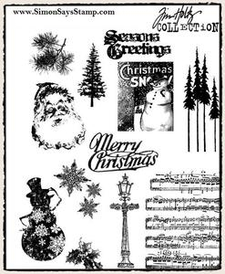 Tim Holtz Cling Rubber Stamps MINI HOLIDAYS 2 cms096