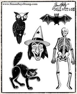 Tim Holtz Cling Rubber Stamps RETRO HALLOWEEN cms092 Preview Image