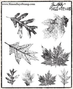 Tim Holtz Cling Rubber Stamps FALLING LEAVES cms097