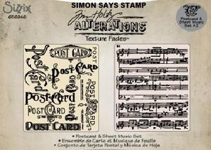 Tim Holtz Sizzix POSTCARD & SHEET MUSIC Texture Fades Embossing Folders 656946