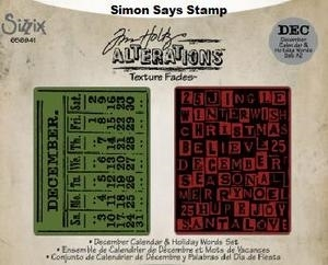 Tim Holtz Sizzix DECEMBER CALENDAR & HOLIDAY WORDS Texture Fades 656941 Preview Image
