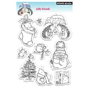 Penny Black Clear Stamps JOLLY FRIENDS Christmas 30-058 Preview Image