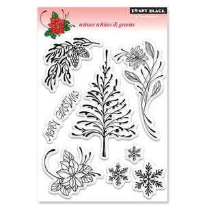 Penny Black WINTER WHITES & GREENS Clear Stamps 30-057 zoom image