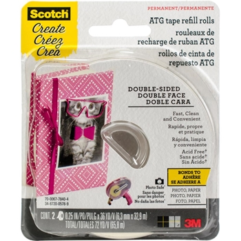 3M Scotch ACID FREE 0.25 Inch x 36 Yard REFILL Advance Tape Glider Rolls