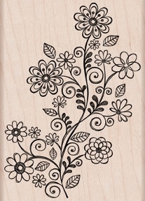 Hero Arts FLOWER SWIRL VINE Rubber Stamp K5486 zoom image