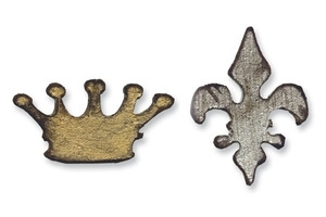 Tim Holtz Sizzix Die MINI CROWN & FLEUR DE LIS Movers & Shapers Alterations  657210