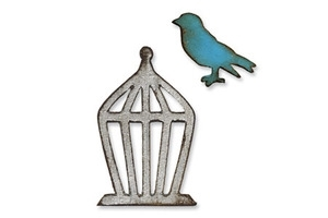 Tim Holtz Sizzix Die MINI BIRD AND CAGE Movers & Shapers Alterations 657207 zoom image