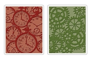 Tim Holtz Sizzix POCKET WATCHES & STEAMPUNK Texture Fades Embossing Folders 657195 Preview Image