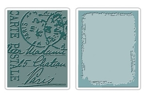 Tim Holtz Sizzix DISTRESSED FRAME & POSTAL Postale Texture Fades Embossing Folders 657196 zoom image