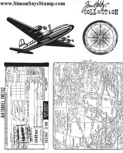 Tim Holtz Cling Rubber Stamps AIR TRAVEL CMS102