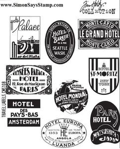Tim Holtz Cling Rubber Stamps TRAVEL LABELS CMS108