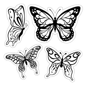 Inkadinkado Cling Stamps BUTTERFLIES Rubber Unmounted 60-60004 zoom image