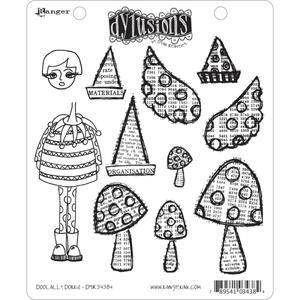 Dyan Reaveley DOOLALLY DORRIS Stamp Set Dylusions Cling Unmounted Rubber DYR34384*