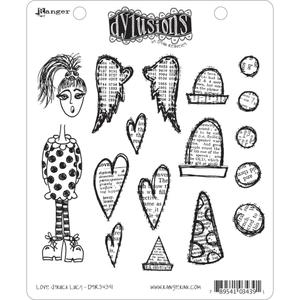 Dyan Reaveley LOVE STRUCK LUCY Stamp Set Dylusions Cling Unmounted Rubber DYR34391*