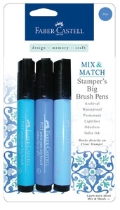 Faber-Castell BLUE Stampers Big Brush Pens Set of 3 770053