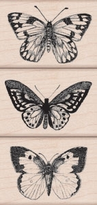 Hero Arts THREE ARTISTIC BUTTERFLIES Rubber Stamps LP215 zoom image