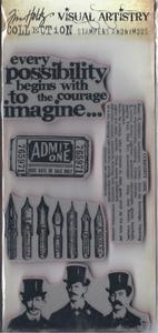 Tim Holtz Visual Artistry CURIOUS POSSIBILITY Cling Stamps Set  CSS30195