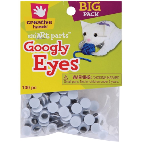 Creative Hands 100 BLACK GOOGLY EYES 88101-55E