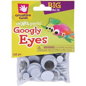 Creative Hands 120 BLACK GOOGLY EYES Six Sizes 90842-55E