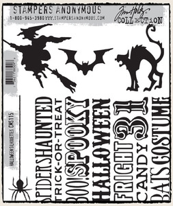 Tim Holtz Cling Rubber Stamps HALLOWEEN SILHOUETTES CMS115 zoom image