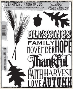 Tim Holtz Cling Rubber Stamps THANKFUL SILHOUETTES CMS116