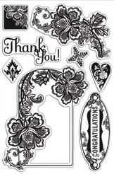 Hero Arts Clear Stamps LOVE AND LACE BasicGrey CL556