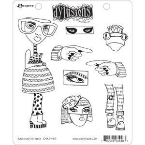 Dyan Reaveley PONDERING PETUNIA Stamp Set Dylusions Cling Unmounted Rubber DYR34483