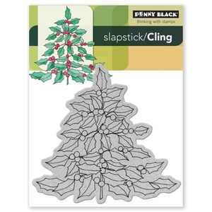 Penny Black Cling Stamp HOLLY TREE 40-087 Rubber Unmounted