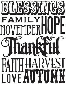 Tim Holtz Rubber Stamp THANKFUL WORDS Stampers Anonymous X1-1758